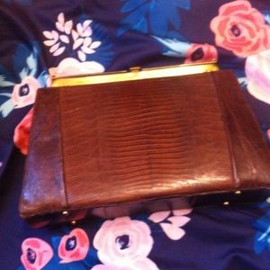 Handbags - Vintage Brown Alligator Pattern Clutch